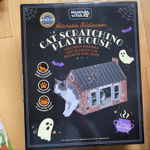 Cat house cat scratching playhouse Halloween